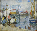 American:Impressionism, MARTHA WALTER (American 1875- 1976). Gloucester Fishermen.Oil on canvasboard. 6in. x 7in.. Stamped with estate stamp to...