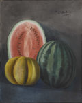 American:Impressionism, BIRGER SANDZEN (American 1871-1954). Still Life with Melons,1900. Oil on canvas. 30in. x 24in.. Signed upper right. P...