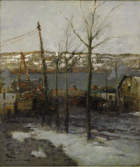 WILLIAM RITSCHEL (American 1864-1949) Thaw on 125th Street, New York Oil on canvas 24in. x 20in. Signed lower left