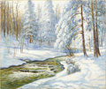 American:Impressionism, WALTER LAUNT PALMER (American 1854-1932). Winter Stream. Oil on canvas. 25in. x 30in.. Signed lower right. The son of ...