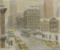 American:Impressionism, GUY CARLETON WIGGINS (American 1883-1962). Storm - Fifth Avenueat 42nd Street. Oil on canvas. 20in. x 24in.. Signed low...