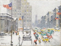 GUY CARLETON WIGGINS (American 1883-1962) 5th Avenue Blizzard at the Library Oil on canvasboard 12in. x 16in. Signed