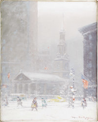 JOHANN BERTHELSEN (American 1883-1972) St. Paul's in the Snow Oil on canvas 20in. x 16in. Signed lower right and on