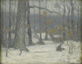 American:Impressionism, GEORGE HERBERT MACCRUM (American b. 1888). Winter Forest. Oil on board. 8.25in. x 10.25in.. On the reverse: artist's est...
