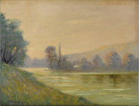 THOMAS O. SHECKELL (American 20th Century) New England Landscape Oil on canvasboard 14in. x 18in. Signed lower left&...