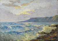THOMAS O. SHECKELL (American 20th Century) Coastline with surf Oil on canvasboard 12in. x 16in. Signed lower left &l...