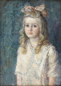 American:Impressionism, AMERICAN SCHOOL (20th Century). Girl with a Pink Bow. Oil oncanvas. 24in. x 17in.. ...
