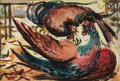 American:Regional, ART LANDY (American 1904-1977). Cock Fight. Watercolor onpaper. 15in. x 22in.. Signed lower left. Exhibited: National O...