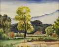 American:Regional, ART LANDY (American 1904-1977). Landscape. Watercolor onpaper. 12in. x 16in.. Authenticated by daughter of the artist. ...