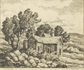 American:Regional, BIRGER SANDZEN (American 1871-1954). Old Ranchhouse. Lithograph on paper. 12in. x 14.5in.. Signed lower right. ...