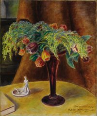 JOHN STEUART CURRY (American 1897 - 1946) Still Life with Roses, Tulips and Mimosa, 1935 Oil on canvas 30in. x 25.5in