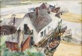 American:Modern, JOHN WHORF (American 1903-1959). Waterfront Cottage,Provincetown. Watercolor. 15.5in. x 22.5in.. Signed lowerright. ...