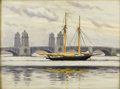 American:Modern, Attributed to FAIRFIELD PORTER (American 1907-1975). SailboatNear Longfellow Bridge. Oil on canvasboard. 12in. x 16in....