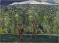 American:Modern, ROCKWELL KENT (American 1882- 1971). Nude Family in a Landscape,Newfoundland. Oil on canvas. 28in. x 38in.. Exhibited: ...