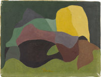ARTHUR DOVE (American 1880-1946) Continuity, 1939 Tempera and encaustic on canvas 6in. x 8in. Signed lower center: &...