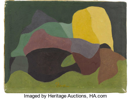 ARTHUR DOVE (American 1880-1946)Continuity, 1939Tempera and encaustic on canvas6in. x 8in.Signed lower center: ...