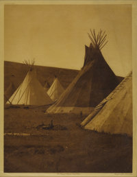 EDWARD S. CURTIS (American 1868-1952) Atsina Camp (plate 175), 1908 Vintage photogravure print on paper 16in. x 11