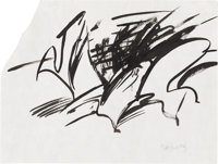 WILLEM de KOONING (American 1904-1997) Untitled Ink on paper 9in. x 12in. Signed lower right  Provenance: Elaine d