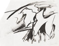 Post-War & Contemporary:Abstract Expressionism, WILLEM de KOONING (American 1904-1997). Untitled. Ink onpaper. 9in. x 12in.. Signed lower right. Provenance: Dutch Cu...