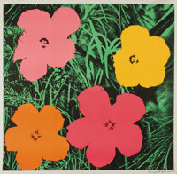ANDY WARHOL (American 1928-1987) Flowers, 1964 Color offset lithograph 23in. x 23in. Signed and dated lower right E