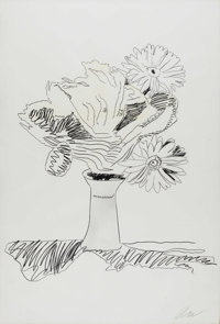 ANDY WARHOL (American 1928-1987) Flowers Hand colored lithograph 40.5in. x 27.5in. Signed lower right and on reverse