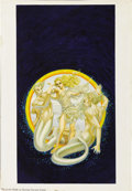 Illustration:Books, GEORGE BARR (American b.1937) . The Gods Abide, c. 1976 .Mixed-media on paper . 16in. x 11in.. Paperback book cover i...