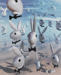 Illustration:Magazine, BILL BENWAY (American b.1946). Untitled (Flying Bunnies),1999. Digital photograph. 19.75in. x 15.75in.. ...