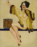 Illustration:Pin-Up, EARL KULP BERGEY (American 1901-1952) . Rise and Shine c.1934 . Mixed-media on canvas . 31in. x 22in. . Signed center r...