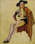 Illustration:Pin-Up, EARL KULP BERGEY (American 1901-1952) . Matador, c. 1933 .Oil on canvas . 31in. x 22in. . Signed lower center . Origina...