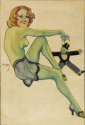 Illustration:Pin-Up, EARL KULP BERGEY (American 1901-1952) . Boyfriend on aString, c. 1940 . Oil on canvas . 31in. x 22in. . Signed centerl...