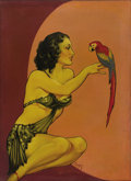 Illustration:Pin-Up, EARLE KULP BERGEY (American 1901-1952). Girl With Parrot, c.1934 . Oil on canvas. 31in. x 22in.. Signed lower center. T...
