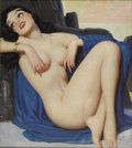 Illustration:Pin-Up, ENOCH BOLLES (American 1883-1976) . Brunette . Oil on canvas. 20in.x 18in.. Not signed...