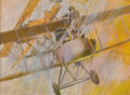 Illustration:Books, HARRY BORGMAN (American b.1928) . A German WW I Albatross D IIIAttacks a British F. E. 2d, 1980 . Mixed-media on illust...