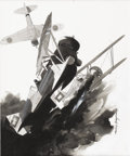 Illustration:Books, HARRY BORGMAN (American b. 1928) . Curtiss Hawks, Model 67,Engage A Japanese Zero, 1980 . Mixed-media on illustration b...