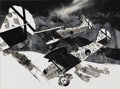 Illustration:Books, HARRY BORGMAN (American b.1928) . Italian Fiat CR32s Attack ARussian-Made Republican Aircraft during the Spanish Civil Wa...
