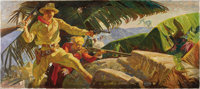 DEAN CORNWELL (American 1892-1960) Untitled, c. 1944 Oil on canvas 30in. x 68in. Signed lower left