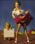Illustration:Pin-Up, GIL ELVGREN (American 1914-1980) . Fresh Breeze (WaywardWind), 1950 . Oil on canvas . 30in. x 24in. . Signed lowerleft...