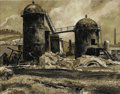 Illustration:Magazine, PETER HELCK (American 1893-1988) . Grain Silos, 1960 .Mixed-media on board . 20.5in. x 24in.. Signed lower left. ...