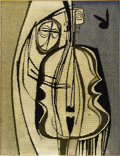 Illustration:Magazine, BILL HINZ (American 20th Century). Untitled (Bass Player withRabbit Head). Hooked wool tapestry. 48in. x 36in.. Signed ...