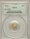 California Fractional Gold: , 1853 50C Liberty Round 50 Cents, BG-409, R.3, MS62 PCGS. PCGSPopulation (36/28). NGC Census: (8/7). ...