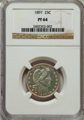 Proof Barber Quarters: , 1897 25C PR64 NGC. NGC Census: (56/86). PCGS Population (55/62). Mintage: 731. Numismedia Wsl. Price for problem free NGC/P...
