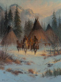 G. (GERALD HARVEY JONES) HARVEY (American, b. 1933) Seeking Winter Meat, 1980 Oil on canvas 40 x