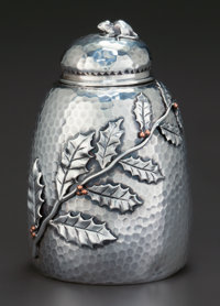 A GORHAM SILVER AND MIXED METALS TEA CADDY, Providence, Rhode Island, circa 1881 Marks: (lion-anchor-G), STERLI