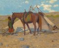 Fine Art - Painting, American:Antique  (Pre 1900), EANGER IRVING COUSE (American, 1866-1936). Umatilla Wickiup with Waiting Pony, circa 1897-1904. Oil on canvas. 15 x 18 i...