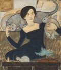 Works on Paper, WILL BARNET (American, 1911-2012). Martha and Two Cats, 1984. Watercolor, gouache and crayon on paper. 28-5/8 x 25-1/8 i...