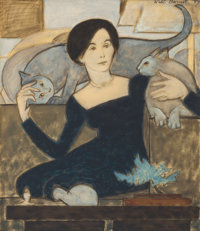 WILL BARNET (American, 1911-2012) Martha and Two Cats, 1984 Watercolor, gouache and crayon on paper<
