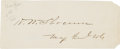 """Autographs:Military Figures, General Henry W. Slocum Signature. Placed upon a 4.5"""" x 1.75"""" piece of paper, Union General Slocum, who gained the nickname ..."""