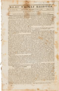 "Miscellaneous:Ephemera, [Daniel Boone]. Niles' Weekly Register. Twenty-two pages, 6""x 9.5"", Baltimore, June 15, 1816, containing an ext..."