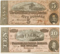 "Miscellaneous:Ephemera, [Confederate Currency]. Two Confederate Notes: $5 and $10. The $5note measures 7"" x 3"" and features a portrait of Treasury ..."