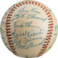 Baseball Collectibles:Balls, 1956 Pittsburgh Pirates Team Signed Baseball With Early Clemente....